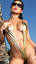 Akira Lane - Gold Sling & Thigh High Boots